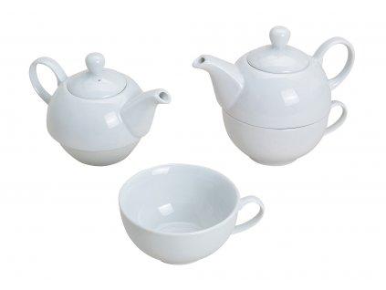 G.WURM - Bílá porcelánová čajová souprava pro jednoho - konvička 400 ml, šálek 200 ml
