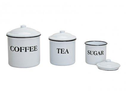 Sada tří smaltových dóz COFFEE TEA SUGAR