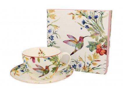 Porcelánový šálek s podšálkem s dekorem ptáčka v dárkové krabičce - 250 ml