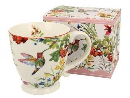 Porcelánový hrnek na stopce s dekorem ptáčka v dárkové krabičce - 450 ml