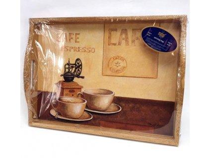 Servírovací dřevěný tác s korkovou podložkou Cafe mlýnek espresso