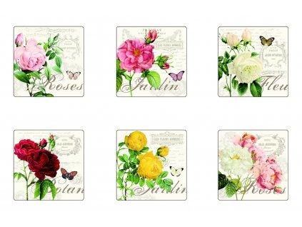 Easy Life - Korkové podložky pod skleničky Jardin Botanique - /10,5*10,5 cm/ - 6 ks