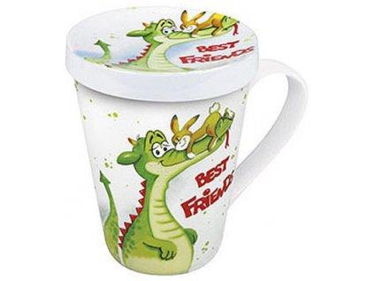 Best friends - hrnek s víčkem - krokodýl a zajíček - 420 ml