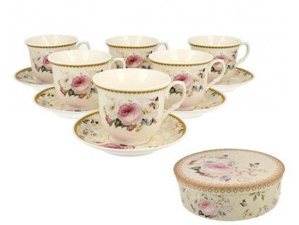 Sada porcelánových šálků s podšálkem s květy růží v bílé a růžové barvě  - 6*250ml