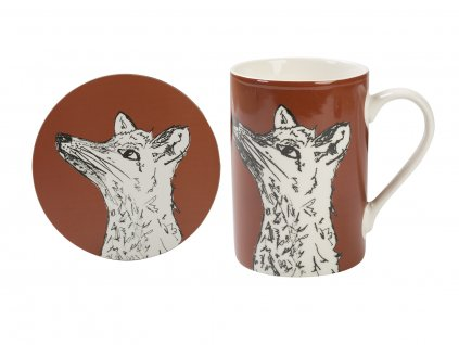 Creative Tops - Porcelánový hrnek s podložkou Into The Wild s liškou - Objem hrnku je 300 ml