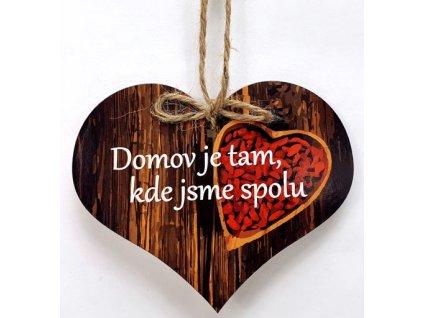 Dřevěné srdíčko 11cm barevné s nápisem - Domov je tam, kde jsme spolu