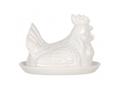 Clayre & Eef - Keramická máselnička CHICKEN - 21*15*15 cm
