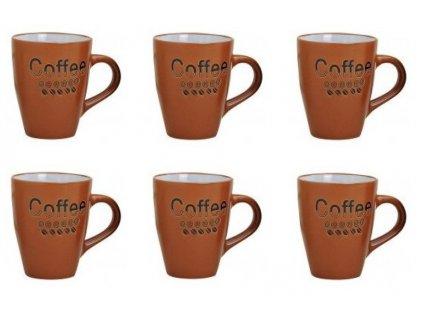 G.WURM - Sada Keramických hrníčků COFFEE hnědo-oranžové I - 6*250 ml