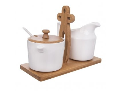 Porcelánová cukřenka a mlékovka na bambusovém stojánku
