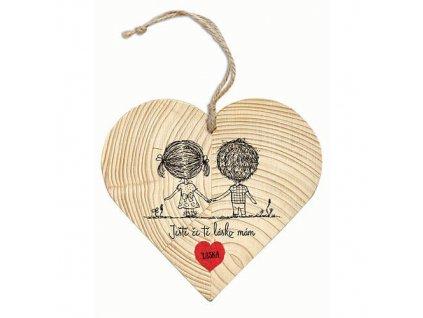 Bohemia Gifts Dřevěné srdce pro zamilované 12 cm - láska