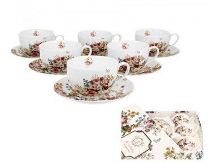 Porcelánové šálky s podšálky VINTAGE FLOWERS-WHITE v dárkové krabičce - 6*280 ml