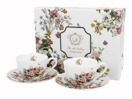 Porcelánová sada šálků s podšálkem VINTAGE FLOWERS-WHITE v dárkové krabičce - 2*280 ml