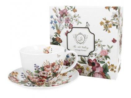 VINTAGE FLOWERS-WHITE - Porcelánový šálek s podšálkem jumbo 350 ml v boxu