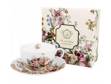 VINTAGE FLOWERS-WHITE - Porcelánový šálek s podšálkem 280ml v boxu