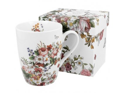 VINTAGE FLOWERS-WHITE - Porcelánový hrnek bullet 360ml v boxu