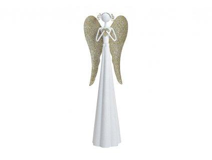 Bílý kovový anděl s křídly ve zlatavé barvě /8*41*8 cm/