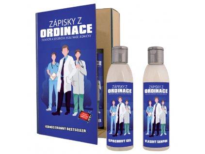 Dárkové balení -  zápisky z ordinace - kniha - sprchový gel 200 ml + vlasový šampon 200 ml