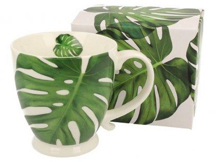 Porcelánový hrnek na stopce s dekorem MONSTERA v dárkové krabičce - 450 ml