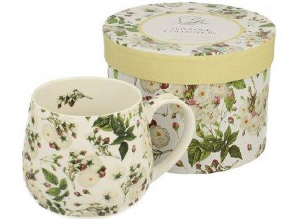 Porcelánový hrnek barylka MARIANNE s bílými květy v dárkové krabičce - 430 ml