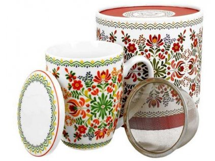Porcelánový hrnek se sítkem a víčkem s dekorem ETNO v dárkové krabičce  - 320 ml