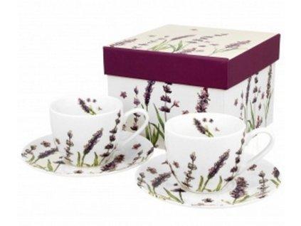 Porcelánové šálky s podšálkem na espresso v dekoru levandule - 2*110 ml