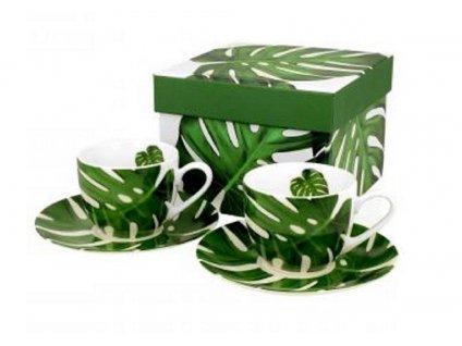 Porcelánové šálky MONSTERA s podšálky na expresso v dárkové krabičce - 2 * 110 ml