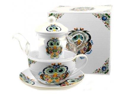 Skleněná konvička s porcelánovým šálkem a podšálkem z kolekce SOVA v dárkové krabičce - objem hrníčku je 200 ml