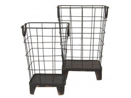 Clayre & Eef - Sada dvou kovových košíků - 32*32*47 / 25*25*38 cm