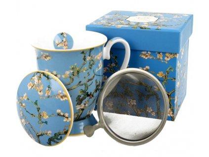 """Van Gogh""""Almond Blossom"""" - Hrnek porcelánový se sítkem a víčkem 325ml v boxu"""