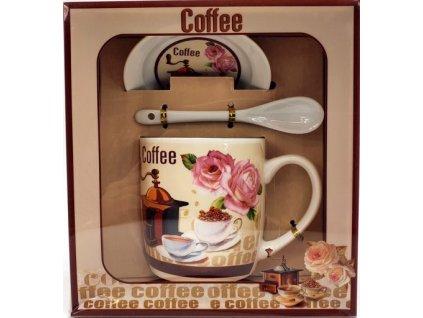 """Porcelánový hrnek s podšálkem a lžičkou ,,Kávomlýnek Nepravidelný"""" v dárkové krabičce - 240 ml"""