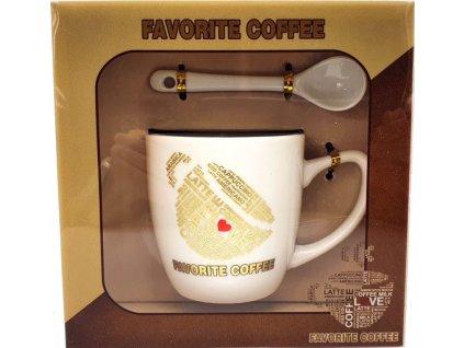 Porcelánový hrnek a lžička Favorite Caffee Love nakloněno v dárkové krabičce - 170 ml