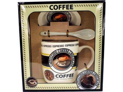 """Porcelánový hrnek s podšálkem a lžičkou ,,Coffee Espresso"""" v dárkové krabičce - 240 ml"""