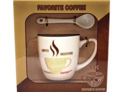 Porcelánový hrnek a lžička Favorite Caffee Espresso v dárkové krabičce - 170 ml