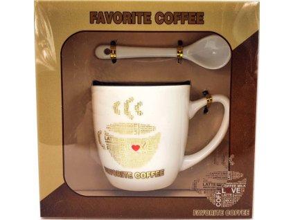 Porcelánový hrnek a lžička Favorite Caffee Latte v dárkové krabičce - 170 ml