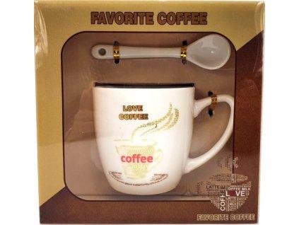 Porcelánový hrnek a lžička Favorite Caffee Love rovně v dárkové krabičce - 170 ml