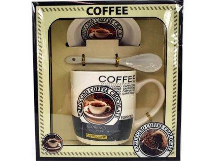 Porcelánový hrnek s podšálkem a lžičkou Coffee Cappuccino v dárkové krabičce - 240 ml