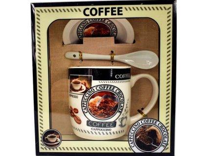 """Porcelánový hrnek s podšálkem a lžičkou ,,Coffee Lopatka velká"""" v dárkové krabičce - 240 ml"""