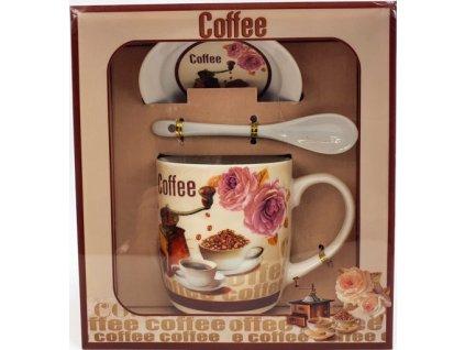"""Porcelánový hrnek s podšálkem a lžičkou ,,Kávomlýnek Kónický"""" v dárkové krabičce - 240 ml"""