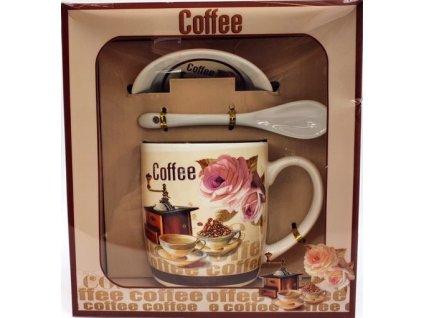 """Porcelánový hrnek s podšálkem a lžičkou ,,Kávomlýnek Hranatý"""" v dárkové krabičce - 240 ml"""