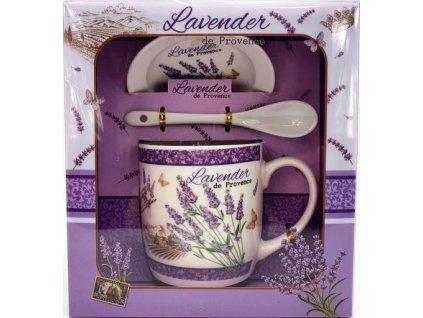 """Porcelánový hrnek s podšálkem a lžičkou ,,Lavender Pole"""" v dárkové krabičce - 240 ml"""