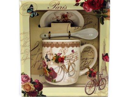 """Porcelánový hrnek  s podšálkem a lžičkou ,,Paris Kolo na stojánku"""" v dárkové krabičce - 240 ml"""