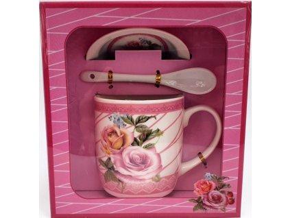 """Porcelánový hrnek  s podšálkem a lžičkou ,,Růže Žlutá + růžová"""" v dárkové krabičce - 240 ml"""