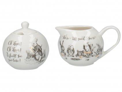 Porcelánová cukřenka a mléčenka Alice In Wonderland