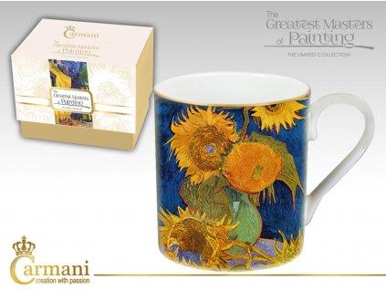 """Carmani - Porcelánový hrnek Vincent van Gogh """"Slunečnice"""" v dárkové krabičce - 380 ml"""