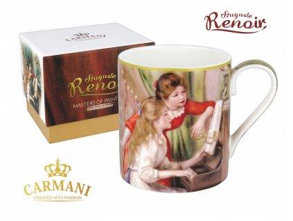 """Carmani - Porcelánový hrnek Auguste Renoir """"Lekce klavíru"""" v dárkové krabičce - 380 ml"""