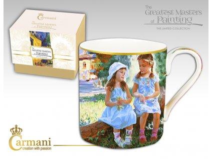 """Carmani - Porcelánový hrnek  Auguste Renoir """"sedící dívky"""" v dárkové krabičce - 380 ml"""