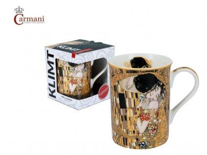 """Carmani - Porcelánový hrnek Classic  Klimt """"Polibek"""" v dárkové krabičce - 420 ml"""
