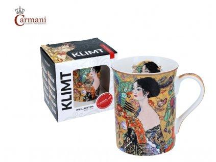 """Carmani - Porcelánový hrnek Classic Klimt """"Dáma s vějířem"""" v dárkové krabičce - 420 ml"""