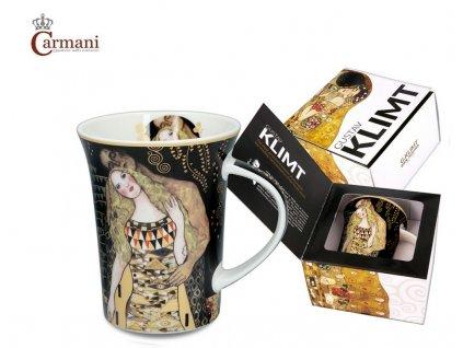 """Carmani - Porcelánový hrnek Gustav Klimt """"Adam a Eva"""" v dárkové krabičce - 350 ml"""
