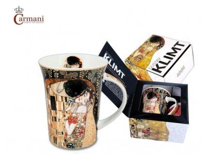 """Carmani - Porcelánový hrnek Gustav Klimt """"Polibek"""" v dárkové krabičce - 350 ml"""
